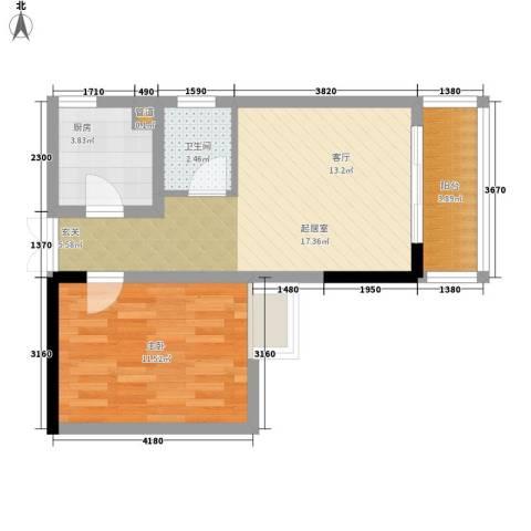 宏声新座1室0厅1卫1厨42.00㎡户型图