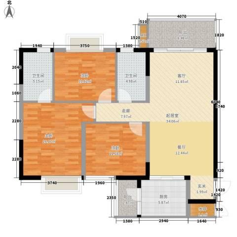 肇庆碧桂园・山湖城3室0厅2卫1厨111.00㎡户型图