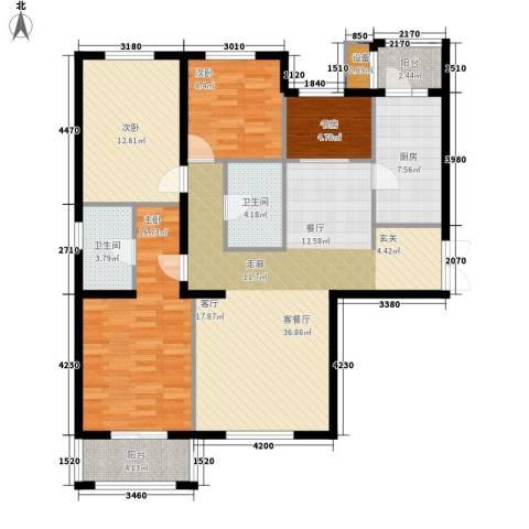 花园五座4室1厅2卫1厨147.00㎡户型图