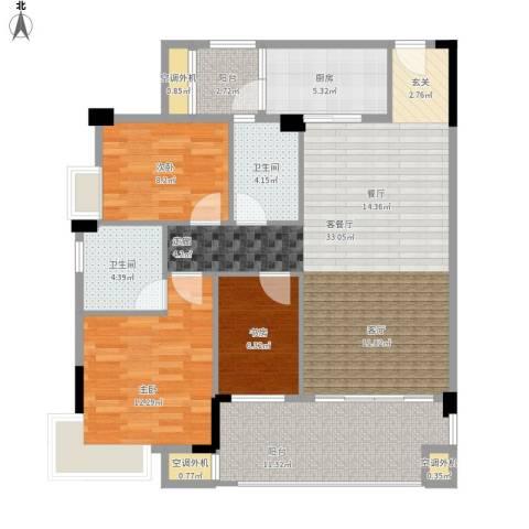 肇庆碧桂园3室1厅2卫1厨126.00㎡户型图