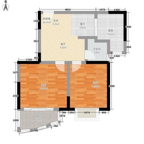 桃园得润居2室0厅1卫1厨67.00㎡户型图
