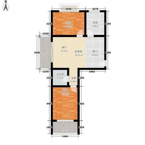 槐苑欣城2室0厅1卫1厨87.00㎡户型图