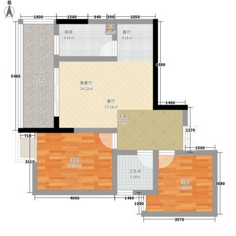 宏声新座2室1厅1卫1厨68.00㎡户型图