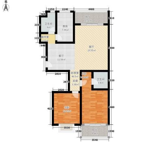 槐苑欣城2室0厅2卫1厨110.00㎡户型图