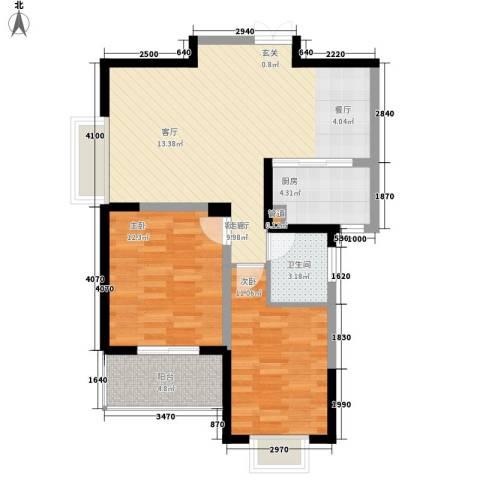 旺东盛园2室1厅1卫1厨85.00㎡户型图