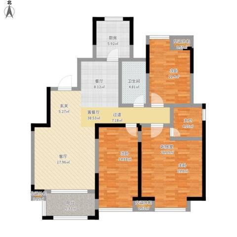 幸福里3室1厅1卫1厨153.00㎡户型图