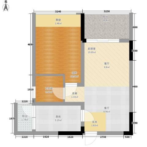 浩博天地1室0厅1卫1厨54.00㎡户型图