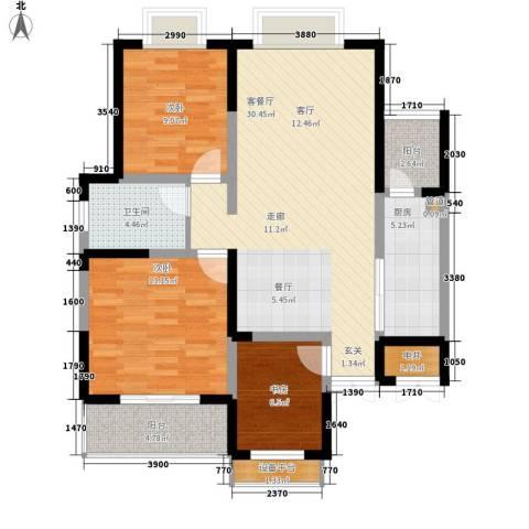 旺东盛园3室1厅1卫1厨115.00㎡户型图