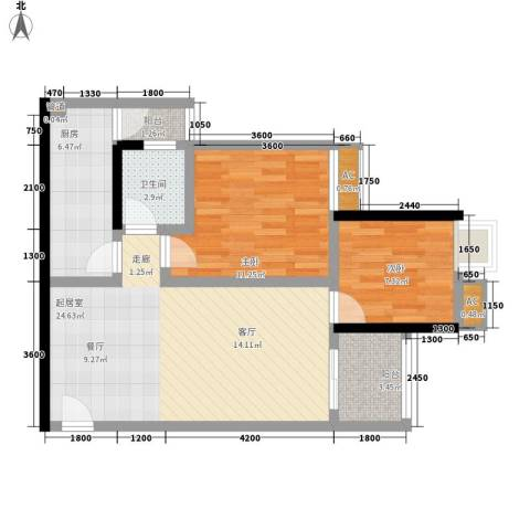 金杜洋光2室0厅1卫1厨63.00㎡户型图