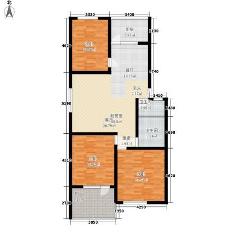前龙小区3室0厅2卫1厨123.00㎡户型图
