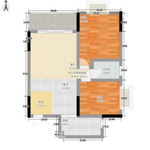 中伦香山美筑2室0厅1卫1厨83.00㎡户型图
