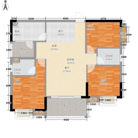欣荣宏国际商贸城3室0厅2卫1厨129.00㎡户型图