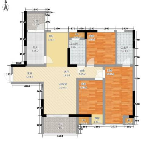 浩博天地3室0厅2卫1厨105.00㎡户型图