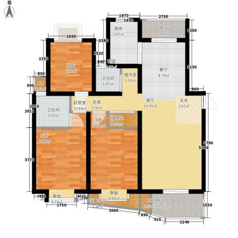 东方城市绿洲3室0厅2卫1厨140.00㎡户型图