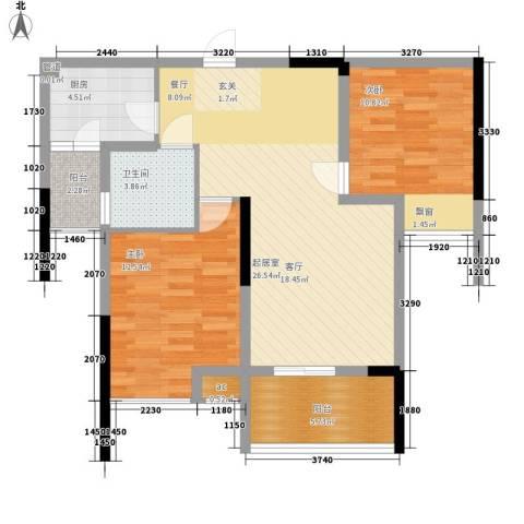 浩博天地2室0厅1卫1厨78.00㎡户型图