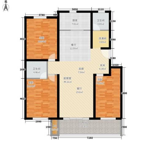玛瑙花园3室0厅2卫1厨124.21㎡户型图