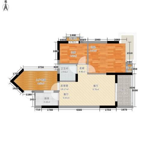 广厦城岭都2室0厅1卫1厨67.00㎡户型图