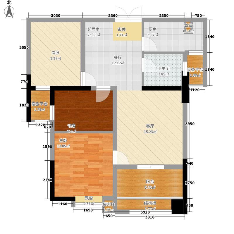 海怡江山86.90㎡一期2号楼标准层6号房户型