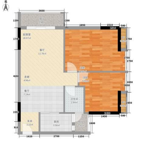 花地新村2室0厅1卫1厨89.00㎡户型图