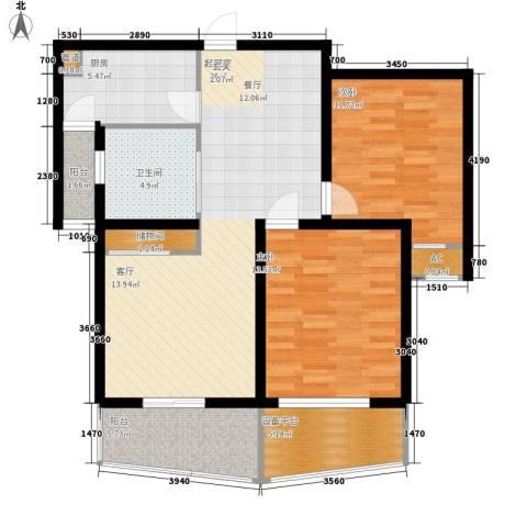 东方城市绿洲2室0厅1卫1厨88.00㎡户型图