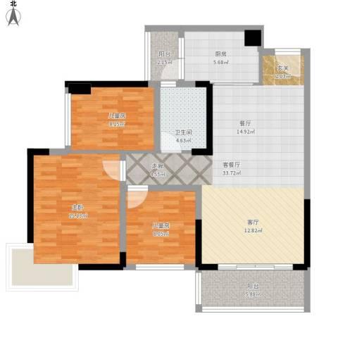 广州碧桂园城市花园3室1厅1卫1厨120.00㎡户型图