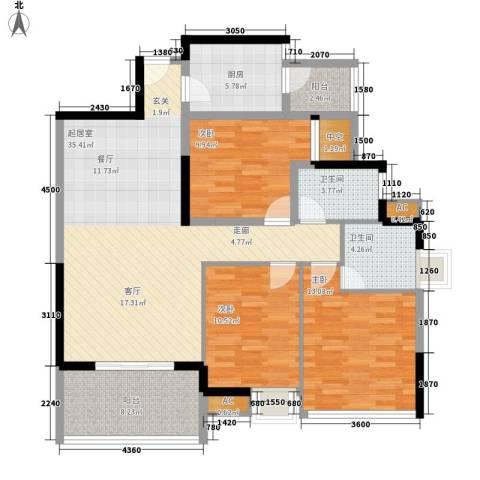 中侨大厦3室0厅2卫1厨137.00㎡户型图