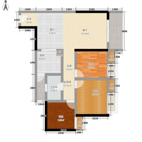 金杜洋光3室0厅1卫1厨80.00㎡户型图