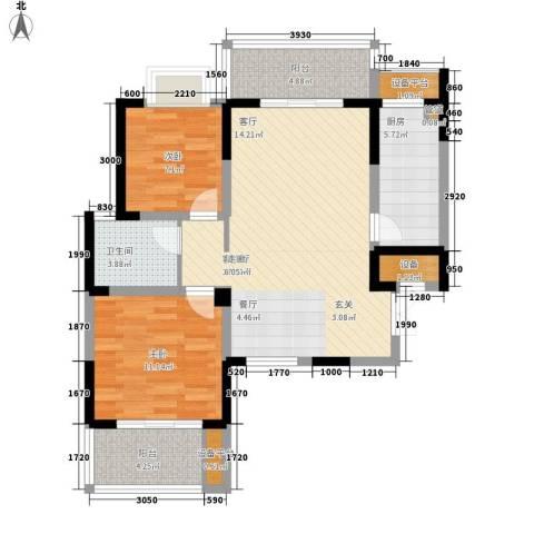 旺东盛园2室1厅1卫1厨87.00㎡户型图