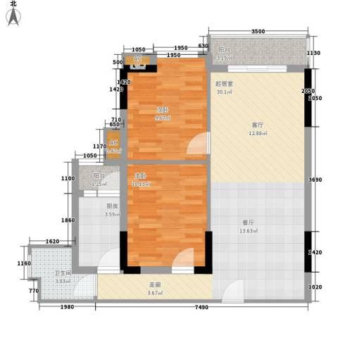 花地新村2室0厅1卫1厨88.00㎡户型图