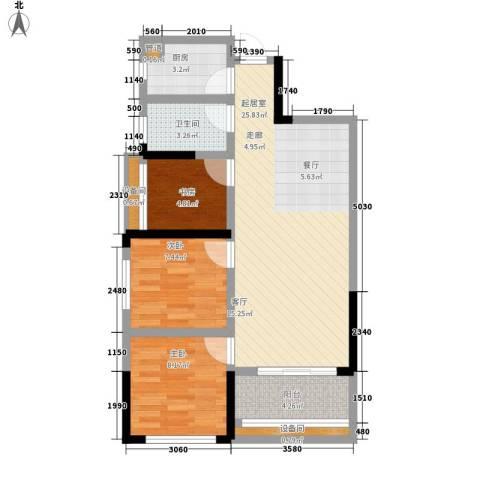 佛奥康桥水岸3室0厅1卫1厨85.00㎡户型图