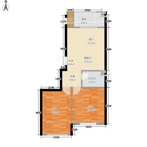 锦绣公馆2室1厅1卫1厨83.00㎡户型图