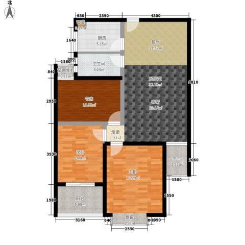 九巨龙玖玺3室0厅1卫1厨101.00㎡户型图