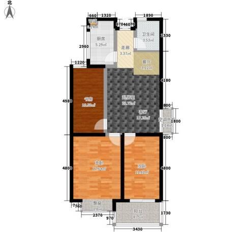 九巨龙玖玺3室0厅1卫1厨89.00㎡户型图