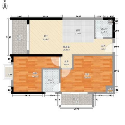 金领中心2室0厅2卫0厨76.00㎡户型图