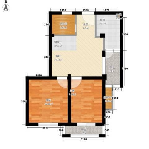 嘉鸿国际2室1厅1卫1厨68.00㎡户型图