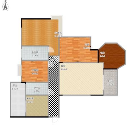 都昌县阳光国际3室1厅2卫1厨162.00㎡户型图