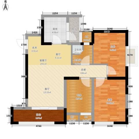 华城万象3室1厅2卫1厨92.00㎡户型图