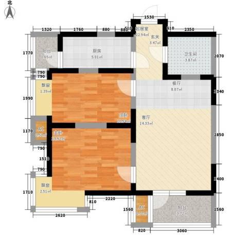 建投观海2室0厅1卫1厨90.00㎡户型图