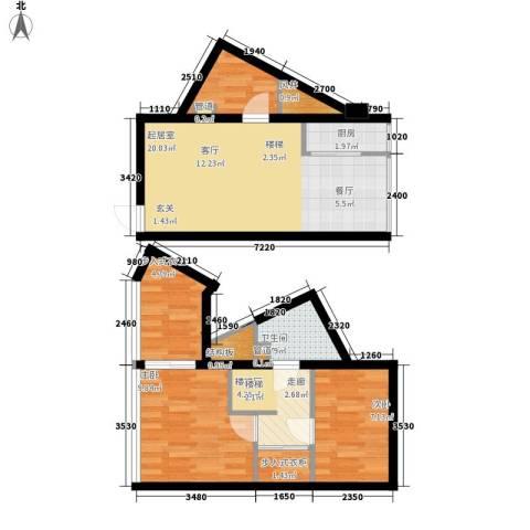 鑫秋大厦2室0厅2卫1厨58.51㎡户型图
