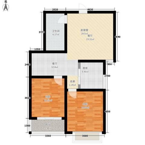 香格里拉花园2室0厅1卫1厨100.00㎡户型图