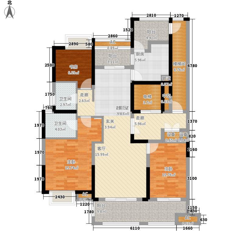 银亿东岸136.00㎡E1户型3室2厅