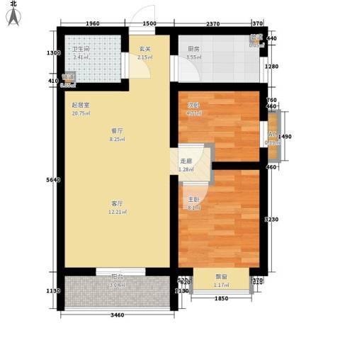 国宾豪庭2室0厅1卫1厨52.00㎡户型图