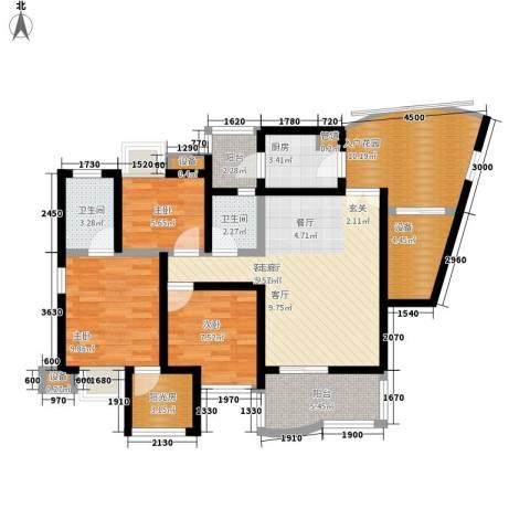 南方新城香榭里西苑3室1厅2卫1厨95.00㎡户型图