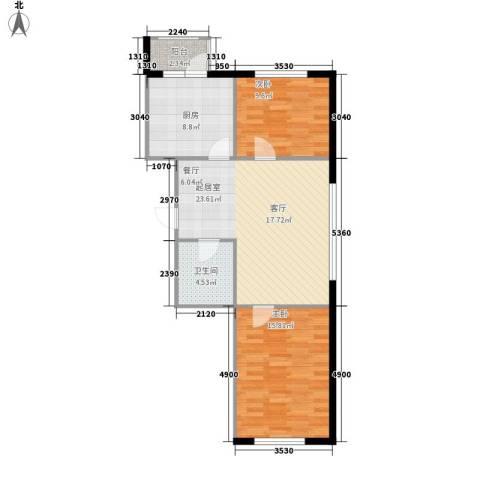 曙光新城2室0厅1卫1厨89.00㎡户型图