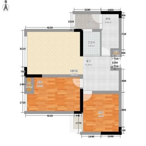福星颐美名阁2室0厅1卫1厨57.77㎡户型图