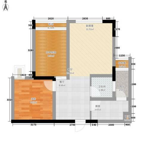 福星颐美名阁1室0厅1卫1厨48.77㎡户型图