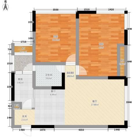 福星颐美名阁2室0厅1卫1厨68.77㎡户型图