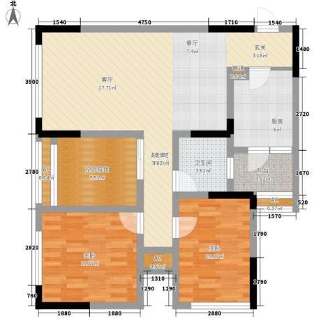 福星颐美名阁2室0厅1卫1厨76.89㎡户型图