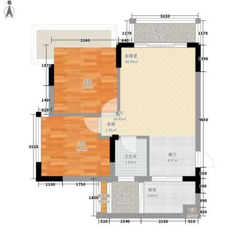 福星颐美名阁2室0厅1卫1厨55.00㎡户型图