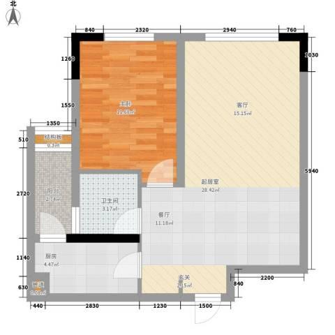 福星颐美名阁1室0厅1卫1厨50.86㎡户型图
